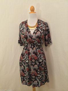 MINIMARKET Gray Red Black Floral Short Sleeved Wrap Dress 38 S