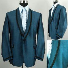 Mens Vintage 1960s Blue Custom Tailored Tuxedo 60s Prom Dinner Jacket