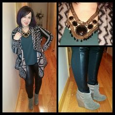 "Fun contrast in the #ComingAndGoing details on my leggings and booties, the "" leather "" is on opposite sides of each! #ootd #outfitpic. #BarIII #SwingCardigan and #INC #fauxleather #leggings from #Macys, #necklace and #booties from #Aldo. #winteruniform #SweaterAndLeggings #sweaterdays #statementnecklace #tribal #sweater #cardigan #oversizedsweater #wintertrends #fashion #fashionista #instafashion #trustintricia #WardrobeConsultant #FashionStylist #PersonalStylist"