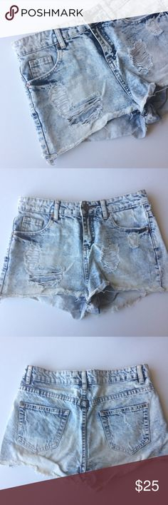 High waist acid wash denim shorts High waist acid wash denim shorts. Distressed style. Excellent condition. Not much stretch. The tag says UK 8, which translates to US 4. *Runs small though-more like size 2. Purchased from ASOS. Super cute paired with a crop and sandles! ASOS Shorts Jean Shorts