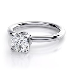 2.1mm Halo Solitaire Diamond Engagement Setting in 14k White Gold