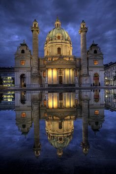 Karlskirche, St Charles's Church, is a baroque church in Vienna, Austria. It  is dedicated to Saint Charles Borromeo, one of the great reformers of the sixteenth century.   ||   ♥ ♥ X ღɱɧღ