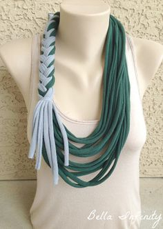 Bella Infinity Braided Scarf Forest Green Light Grey Up-Cycled Jersey Fabric Boho Chic Fun