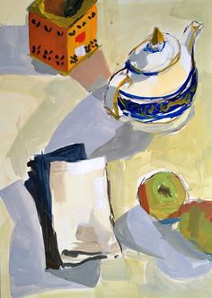 stilllifequickheart:    Nancy Gruskin  Still Life with Teapot  2013  (a note about today's posts)