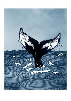 Hump Back Whale tail breaking the surface of stormy waves at sea - A4 nautical themed digital print by Dario fisher on Etsy https://www.etsy.com/uk/listing/483828727/hump-back-whale-tail-breaking-the