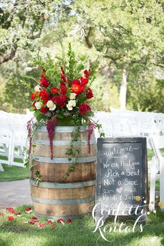 red wine barrel wedding bar decor / http://www.himisspuff.com/rustic-country-wine-barrel-wedding-ideas/