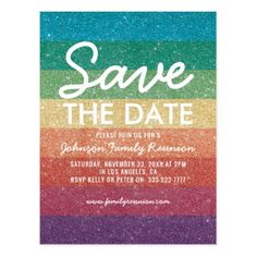 Colorful Glitter Party Reunion Save the Date Postcard - reunion cards save the date party invitation diy personalize custom card