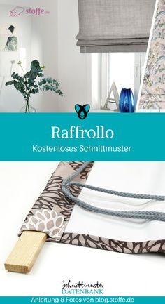 Raffrollo , Sewing Roman blinds yourself Sewing patterns for free Sewing ideas for sewing ideas Flat curtains. Sewing Machine Projects, Sewing Projects For Beginners, Sewing Tutorials, Sewing Tips, Sewing Hacks, Sewing Ideas, Diy Projects, Sewing Patterns Free, Free Sewing
