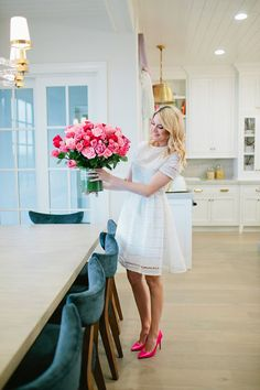 White dress with pink pumps