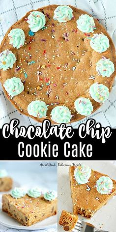 Chocolate Chip Cookie Cake is an easy way to make a huge chocolate chip cookie and decorated like a cake. #chocolatechipcookie #cakerecipe #cookiecake #dessertrecipe #greatgrubdelicioustreats Delicious Cookie Recipes, Easy Cookie Recipes, Yummy Cookies, Yummy Treats, Cake Recipes, Dessert Recipes, Homemade Snickers, Homemade Chocolate, Chocolate Recipes