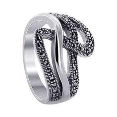 Sterling Silver 1mm Marcasite Wavy Design 3mm Band Ring