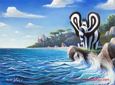 """Tableau éléphant """"Titou bord de mer"""" de Vincent Dufour (Pastel 50/65cm). Tous les tableaux et déclinaisons de Titou l'éléphant sur http://www.vincentdufour.com/fr/16-le-monde-de-titou-tableau-chambre-enfant-tableau-chambre-bebe#/animal-elephant # tableau, chambre, enfant, bébé, dessin, peinture, déco, décoration"""