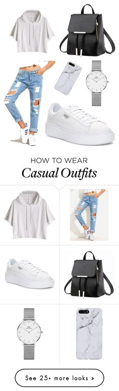 """""""Casual"""" by megcara on Polyvore featuring Puma and Daniel Wellington"""