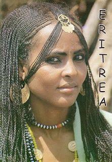 """Eritrean woman wearing """"Fegiret"""" hairstyle"""