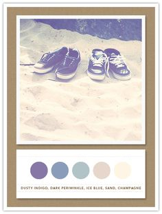 Color Card 075: Dusty Indigo, Dark Periwinkle, Ice Blue, Sand, Champagne