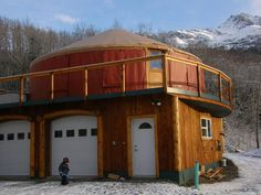 two story yurt with garage/studio space and winter entrance