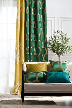 Iris flower with mustard yellow geometric pattern with Emerald Green 2 in 1 Wind. Iris flower with mustard yellow geometric pattern with Emerald Green 2 in 1 Window living room curtain panel Living Room Decor Curtains, Living Room Windows, Cozy Living Rooms, Home Living Room, Living Room Designs, Bedroom Decor, Yellow Bedroom Curtains, Yellow Bedrooms, Gold Curtains