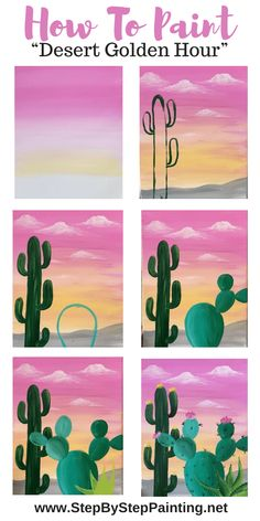 """Easy Cactus Painting """"Desert Golden Hour"""" - Step By Step Painting Easy Canvas Art, Simple Canvas Paintings, Small Canvas Art, Cute Paintings, Mini Canvas Art, Diy Canvas, Indian Paintings, Canvas Painting Tutorials, Acrylic Painting Canvas"""