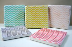 Lovely chevron coasters made by a Lancaster, PA artist using Italian stone $30  (I ordered me a set!)