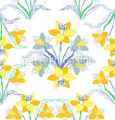 Artful Daffodils designed by Iris Choi, vector download available on patterndesigns.com
