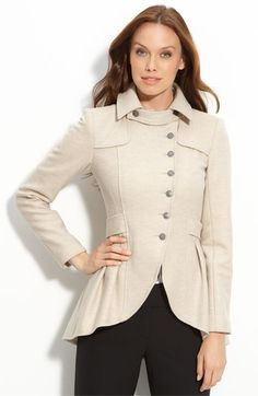 Free shipping and returns on Nanette Lepore 'Angelic' Jacket at Nordstrom.com. An asymmetrical button placket, cutaway hem and back stormflap offer military structure in a soft jacket knit from warm wool.