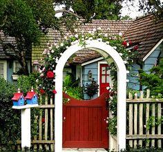 Red gate and door