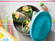 Kids will love assembling these pretty rice paper rolls. With crisp cucumber and juicy mango, they'll be the talk of the lunchroom. School Lunch Recipes, Easy School Lunches, Kids Lunch For School, Rice Rolls, Rice Paper Rolls, Quick Easy Meals, Easy Dinner Recipes, Snack Recipes, Rice Paper Wrappers