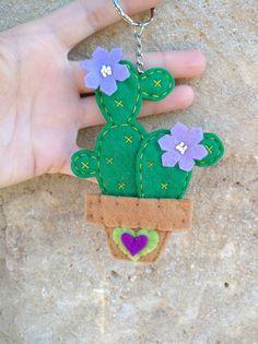 Cactus Keychain, Felt Keychain, Felt Flowers, Lilac Flowers, Cactus Craft, Felt Fish, Crochet Cactus, Cactus Flower, Cactus Cactus