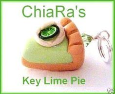 Key Lime Pie Slice Polymer Clay Charm by CharmthisClayCharms, $3.00