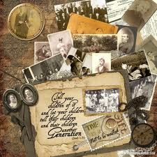 Time is a Gift Not to be Wasted ~ Amazing heritage page with the casual look of an open box of family photos and keepsakes. This would make a great opening layout for your heritage album.