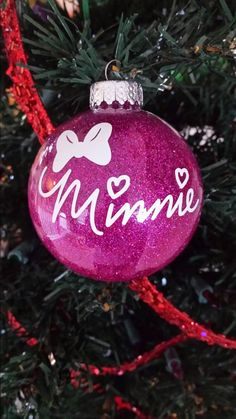 Minnie mouse christmas ornament with glitter.  Personalize with any color or character!