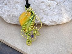 Yellow agate wire wrappe pendant OOAK by Ianira on Etsy