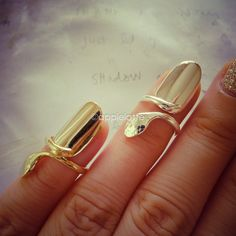 funky bling nail ring above knuckle ring in gold or by applelatte