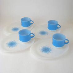 Blue Mosaic Snack Plates, Set of 4 - Anchor Hocking Fire-King, Retro Mid-Century Modern 1960's