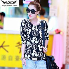 Find More T-Shirts Information about Korean Spring Autumn Dress Long Sleeve Shirt T shirt Slim Wool Cashmere Female Long Sleeved T shirts Fashion Print Wholesale,High Quality print cotton,China t-shirts digital printing Suppliers, Cheap printed t-shirt for women from Angel Growth Diary on Aliexpress.com