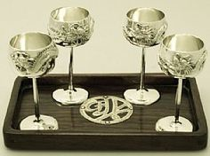 'Chinese Export Silver Goblets with Tray' - Exceptional craftsmanship & attention to detail is showcased within our 'Chinese/Asian Silver' collection... http://www.acsilver.co.uk/shop/pc/Chinese-Asian-Antique-Silver-c75.htm
