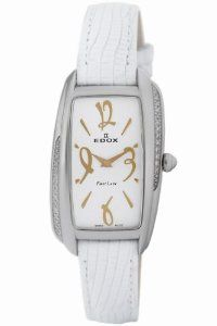 Edox Women's 21222 3D AIR First Lady Diamond Watch Edox. $604.50. Exquisite diamonds set in bezel. Water-resistant to 165 feet (50 M). Rose gold tone indices; White leather strap. White leather strap. Rose gold tone indices. Save 61%!