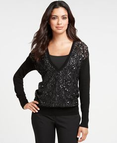 This sweater totally rocks. Ann Taylor.