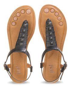Look what I found on #zulily! Black Kava Leather Sandal #zulilyfinds