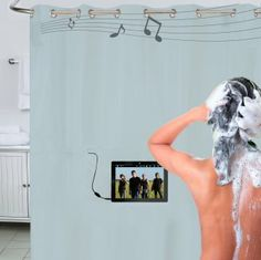ShowerTunes Curtain/Liner is a built in waterproof speaker system. Listen to some tunes, make or answer a phone call, watch a movie or music video. Built-in waterproof speakers, along with a waterproof, touch sensitive control pouch, provides surround sound, that fully reveals your audio and video collection.