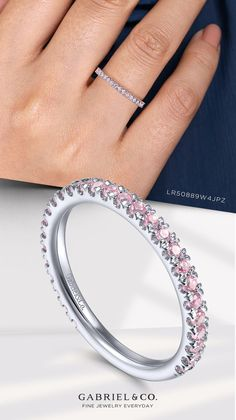 Precious pink CZ stones sweetly decorate this 14k white gold Stackable ring. LR50889W4JPZ #StackableRing #WhiteGoldRing #PinkZirconRing #FashionJewelry #FashionRings #Rings