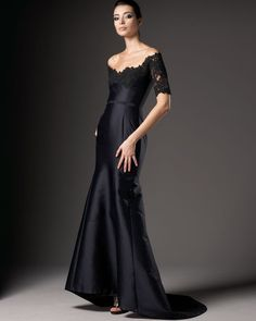 Lace-sleeve Gown - Lyst