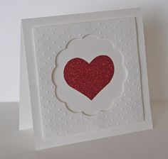 handmade Valentine card ... clean and simple design ... luv the look of glitter paper for the only color on this white card ...