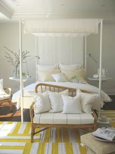 how to make a large bedroom rugs, layering rugs in the bedroom, bright bedroom rugs Large Bedroom, White Bedroom, Yellow Bedding, Wooden Sofa, Mellow Yellow, Bright Yellow, Color Yellow, Grey Walls, Beautiful Bedrooms
