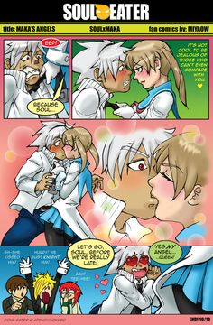 SE Makas Angels Comics by Miyaow on DeviantArt Soma Soul Eater, Soul Eater Manga, Soul Eater Death, Soul Eater Evans, Anime Soul, Cute Couple Comics, Couples Comics, Anime Couples, Soul Eater Couples