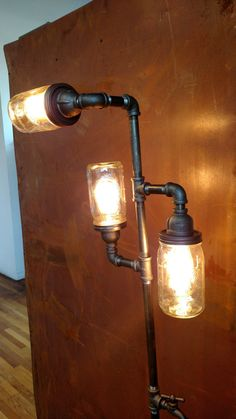 Pipe Floor Lamp 3-fixture Living Room by VintagePipeLamps on Etsy