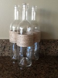 Simple centerpiece idea! Perfect for holding #Flowers #Beads #Sand Decorative recycled wine bottle vase or by StonesthrowBoutique, $7.00