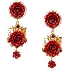 Dolce & Gabbana Earrings (€320) ❤ liked on Polyvore featuring jewelry, earrings, red, earrings jewelry, brass earrings, two tone earrings, brass jewelry and red earrings