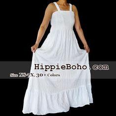 751c7ec55f8 No.052 - Size XS-5X Hippie Boho Clothing Gypsy White Plus Size Strap