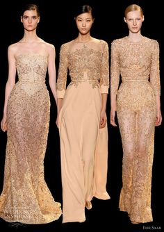 elie saab couture 2013 melon peach blush gowns embroidery sleeves